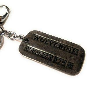 Wolverine Logan dog tag keychain X-MEN Full metal